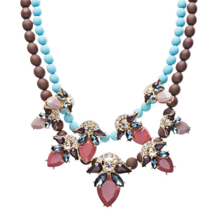 Stunning Double Chain Crystal Rhinestone Tear Drop Statement Necklace JN243 Pink