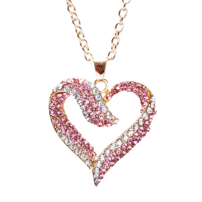 Valentines Jewelry Crystal Rhinestone Beautiful Heart Pendant Necklace N90 GD PK