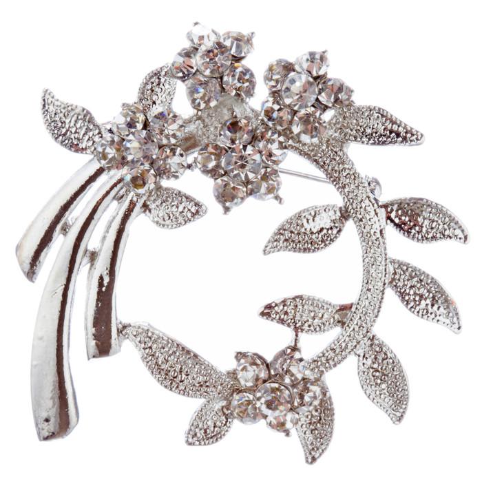 Bridal Wedding Jewelry Crystal Rhinestone Classic Floral Brooch Pin BH187 Silver