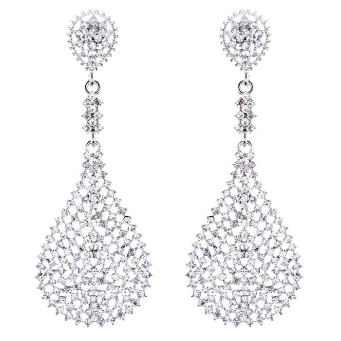 Bridal Wedding Jewelry Crystal Rhinestone Dazzling Dangle Earrings E1015 Silver