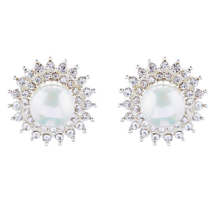 Bridal Wedding Jewelry Crystal Rhinestone Pearl Sunburst Earrings E1017 Silver