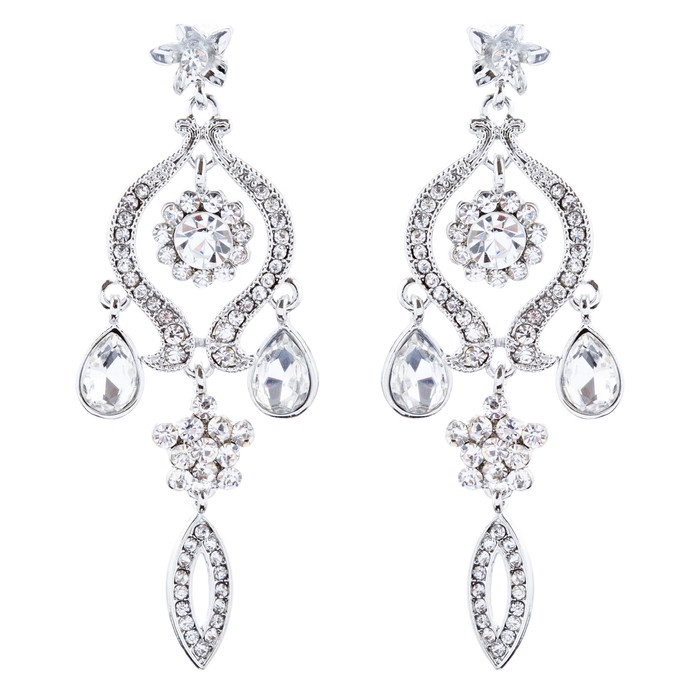Bridal Wedding Jewelry Crystal Rhinestone Classic Dangle Earrings E1020 Silver