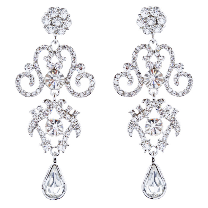 Bridal Wedding Jewelry Crystal Rhinestone Stunning Dangle Earrings E1021 Silver