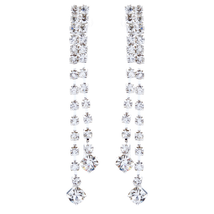 Bridal Wedding Jewelry Crystal Rhinestone Simple Linear Drop Earrings E1028 SV