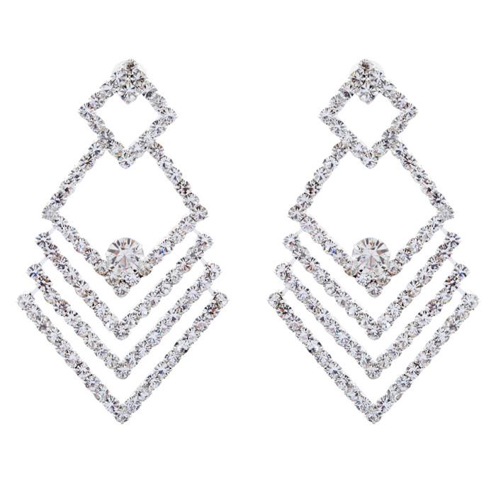 Bridal Wedding Jewelry Crystal Rhinestone Chic Design Earrings E1029 Silver