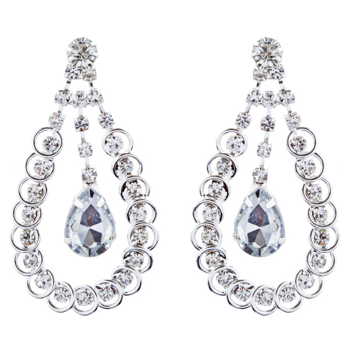 Bridal Wedding Jewelry Crystal Rhinestone Lovely Dangle Earrings E1030 Silver