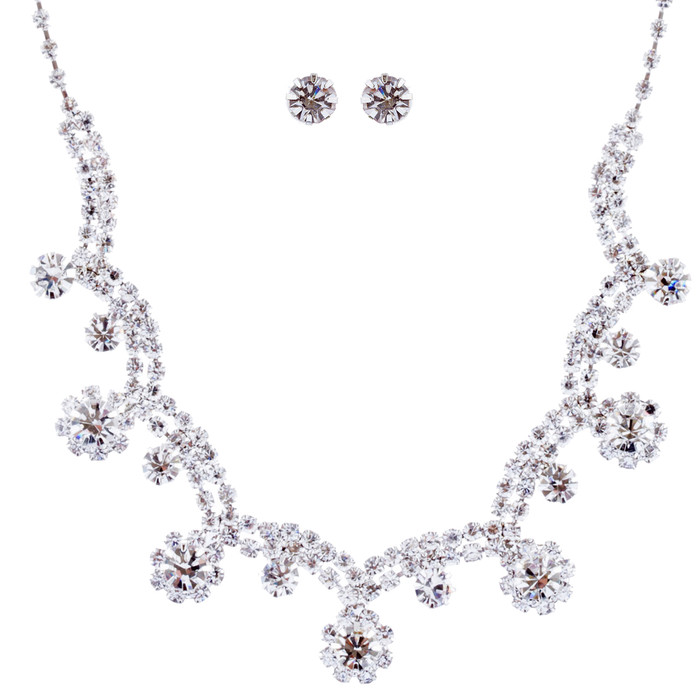 Bridal Wedding Jewelry Crystal Rhinestone Prom Necklace Earrings Set J727 Silver