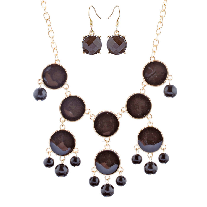 Brilliant Chic Trendy Fashion Statement Necklace Jewelry Set JN291 Gold Black