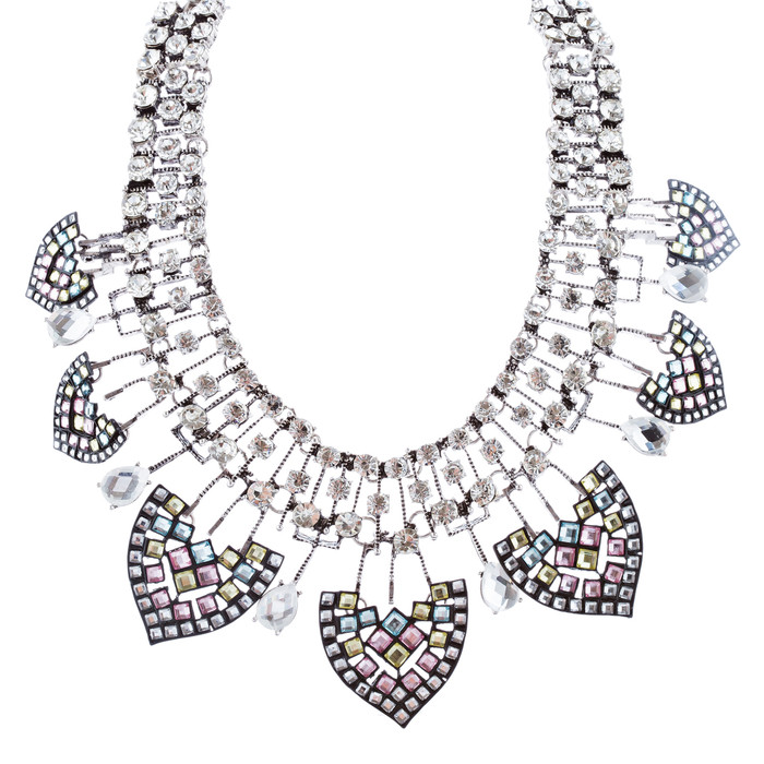 Fascinating Crystal Rhinestone Bold Fashion Statement Necklace N102 Silver