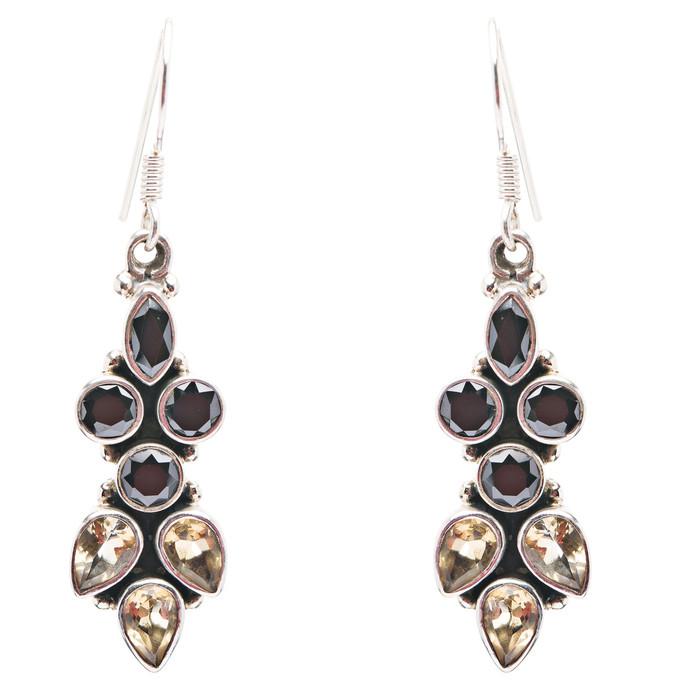 925 Sterling Silver Gemstones Natural Onyx Citrine Dangle Earrings FJSE2145