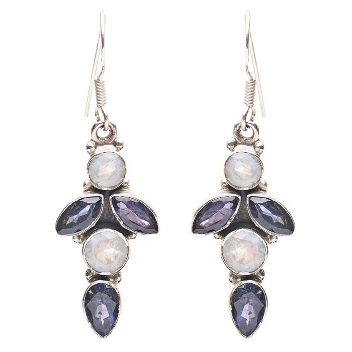 925 Sterling Silver Gemstones Natural Amethyst Moonstone Dangle Earring FJSE2146