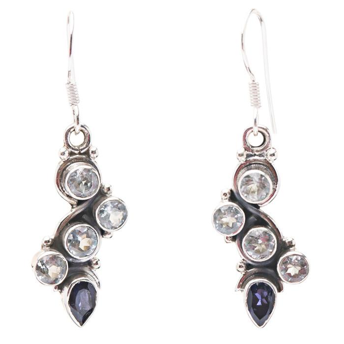 925 Sterling Silver Gemstones Natural Topaz Dangle Earrings FJSE2159