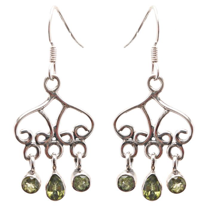 925 Sterling Silver Gemstones Natural Peridot Dangle Earrings FJSE2176