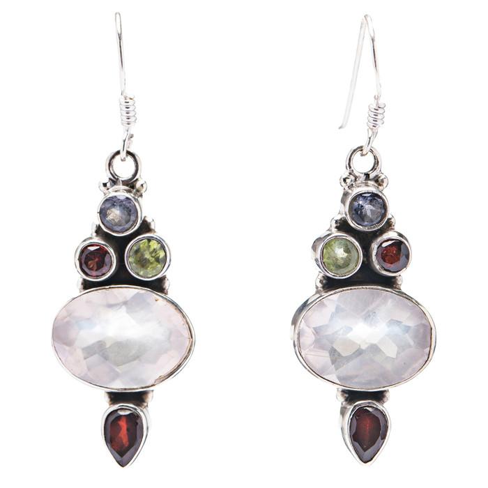 925 Sterling Silver Natural Gemstones Topaz Dangle Earrings FJSVE2103