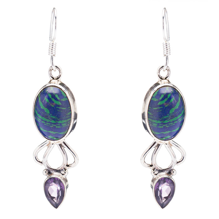 925 Sterling Silver Natural Gemstones Rainbow CalsilicsDangle Earrings FJSVE2114