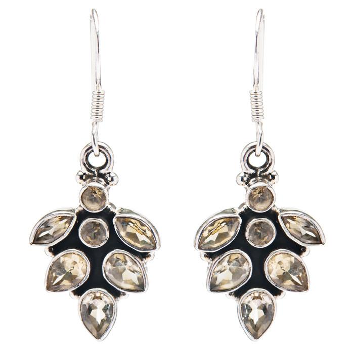 925 Sterling Silver Natural Gemstones Citrine Dangle Earrings FJSVE2122