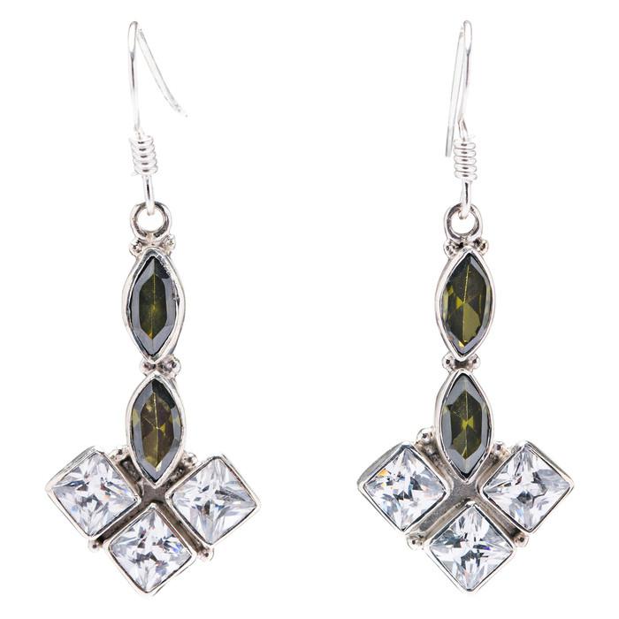 925 Sterling Silver Natural Gemstones Topaz Dangle Earrings FJSVE2142
