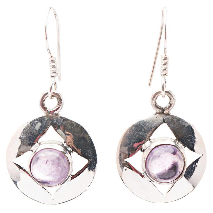 925 Sterling Silver Natural Gemstones Amethyst Dangle Earrings FJSVE2153