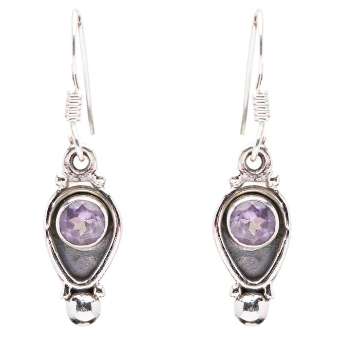 925 Sterling Silver Natural Gemstones Amethyst Dangle Earrings FJSVE2170