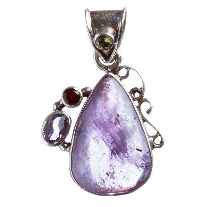 925 Sterling Silver Natural Gemstones Amethyst Pendant FJSVP2038
