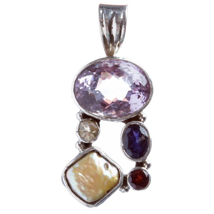 925 Sterling Silver Natural Gemstones Abalone Amethyst Pendant FJSVP2041