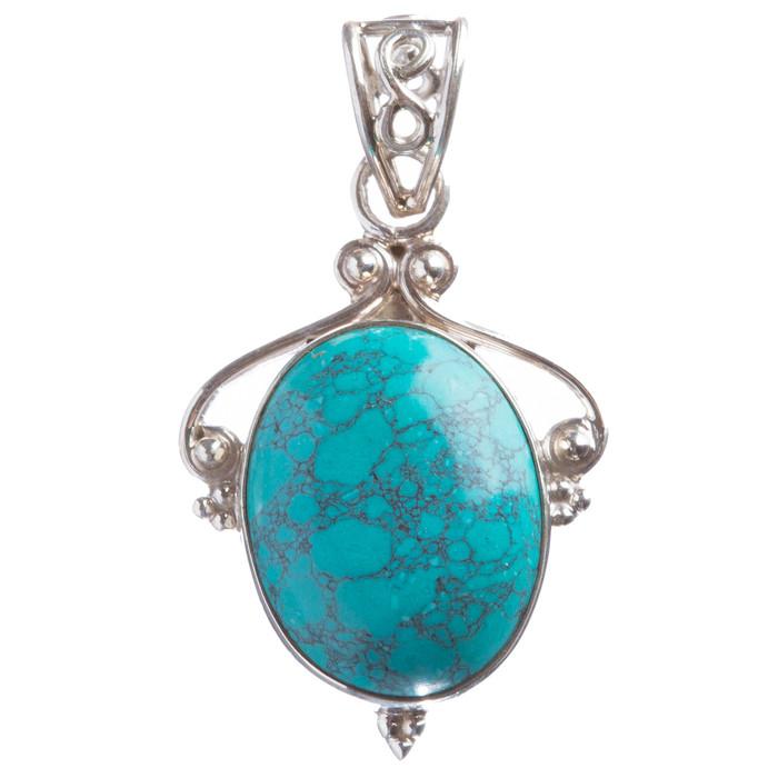 925 Sterling Silver Natural Gemstones Turquoise Pendant FJSVP2057