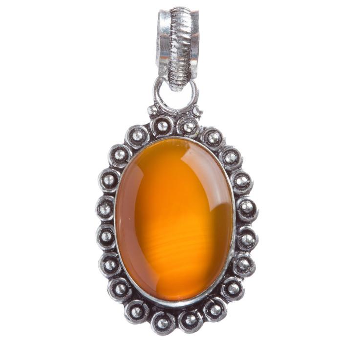 Sterling Silver Natural Gemstones Carnelian Pendant FJSVP2059