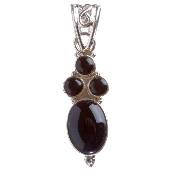 925 Sterling Silver Natural Gemstones Onyx Pendant FJSVP2070