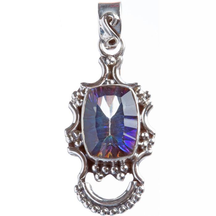 925 Sterling Silver Natural Gemstones Rainbow Magic Topaz Pendant FJSVP2073