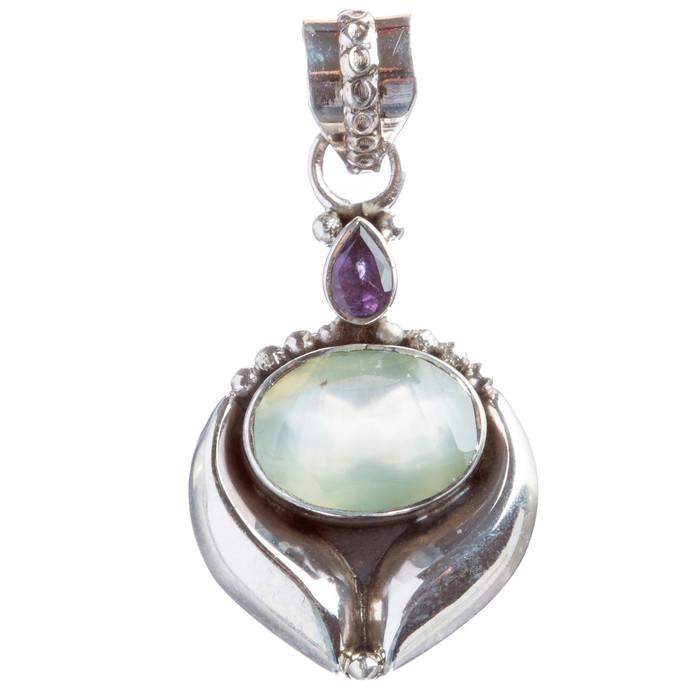 925 Sterling Silver Natural Gemstones Amethyst Pendant FJSVP2090