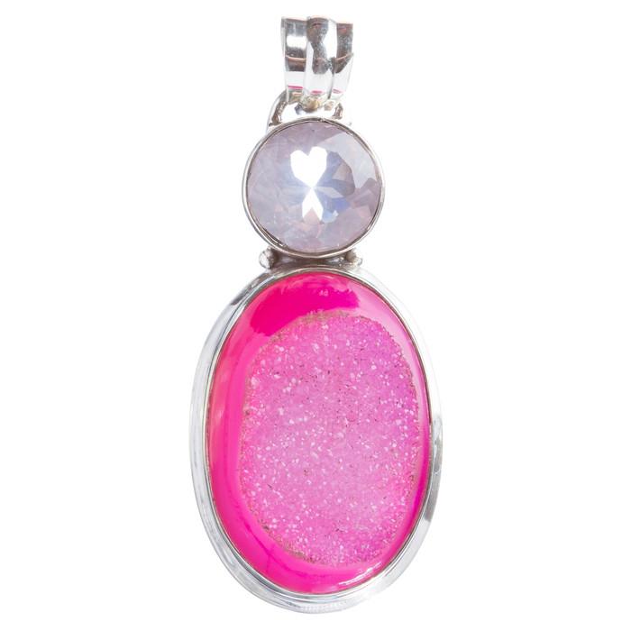 925 Sterling Silver Natural Gemstones Agate Druzy Pendant FJSVP2093