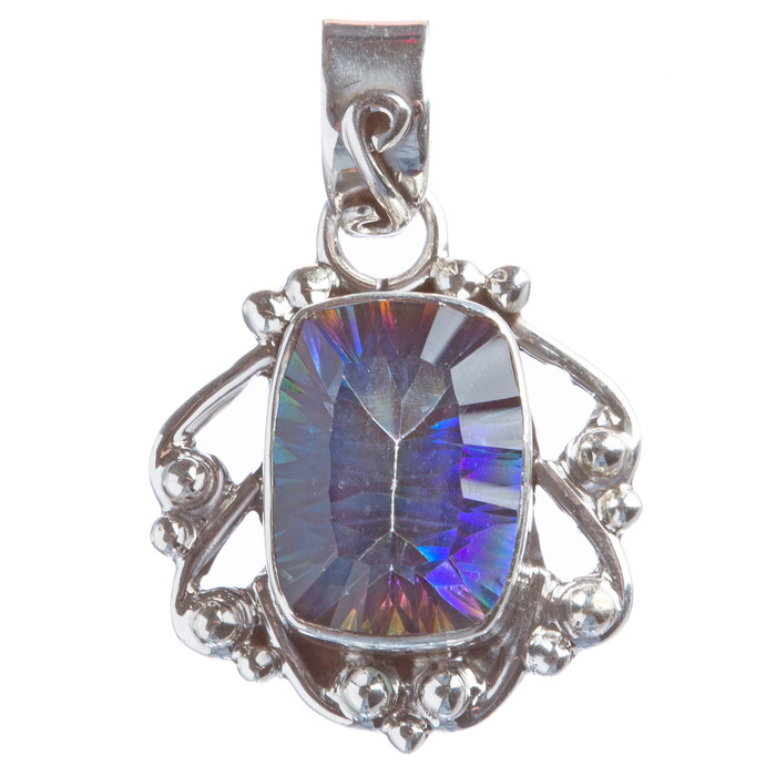 925 Sterling Silver Natural Gemstones Rainbow Magic Topaz Pendant FJSVP2107