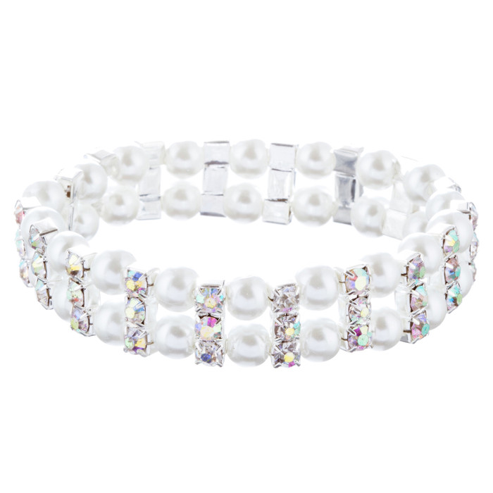 Bridal Wedding Jewelry Charming Pearl Rhinestones Stretch Bracelets B525 Silver