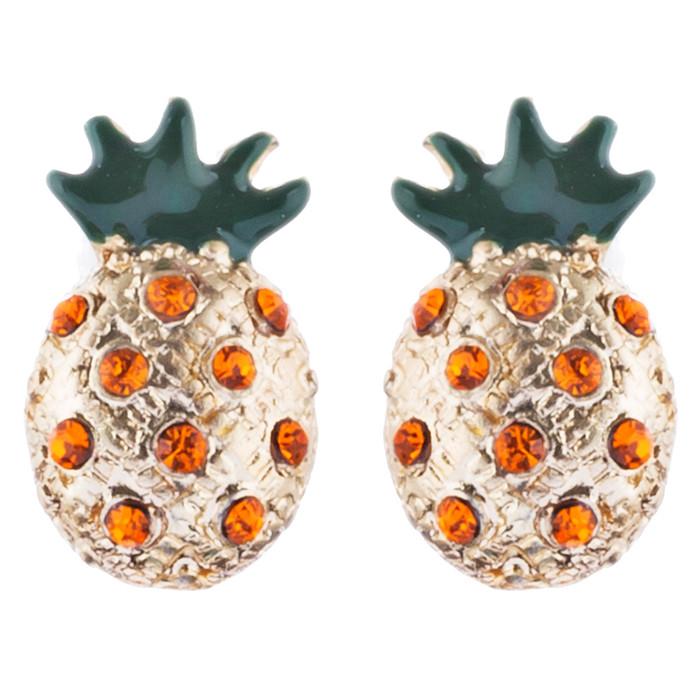 Fun and Unique Pineapple Fruit Design Crystal Rhinestone Fashion Earrings E1126