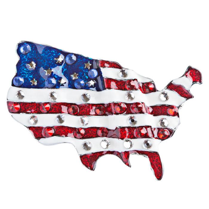 Patriotic Jewelry Crystal Rhinestone American Flag Charm Brooch Pin BH84 Silver