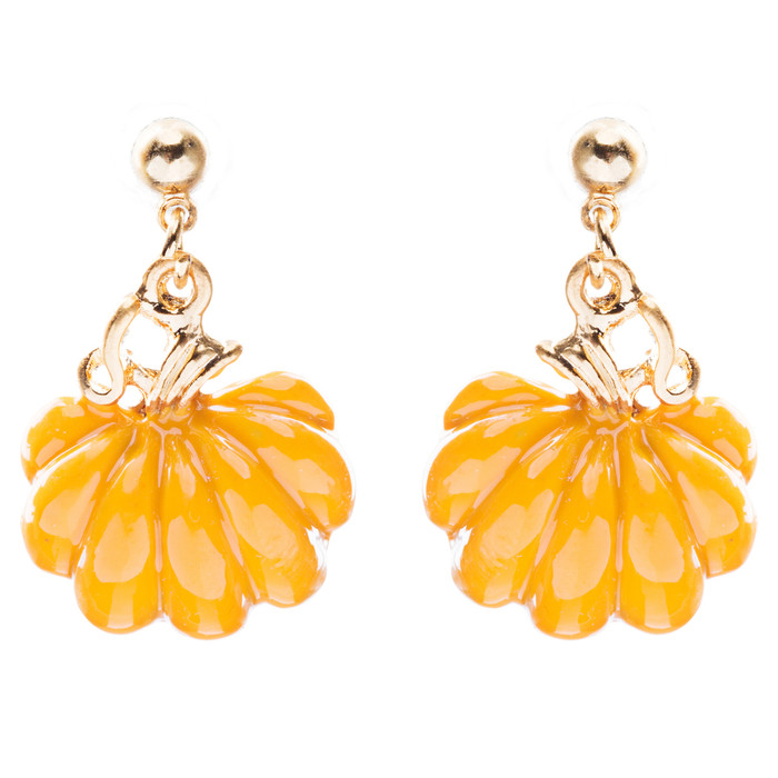 Halloween Costume Jewelry Enamel Pumpkin Charm Dangle Earrings E761 Orange