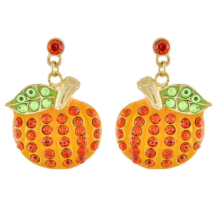 Halloween Costume Jewelry Crystal Rhinestone Pumpkin Dangle Earrings E1139 GD