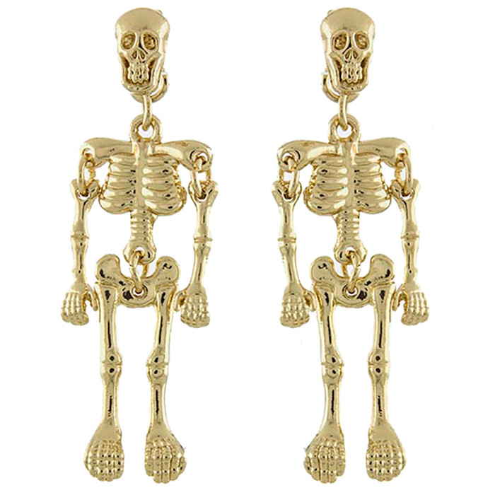 Halloween Costume Jewelry Enamel Dangling Skull Ornate Drop Earring E1140 Gold