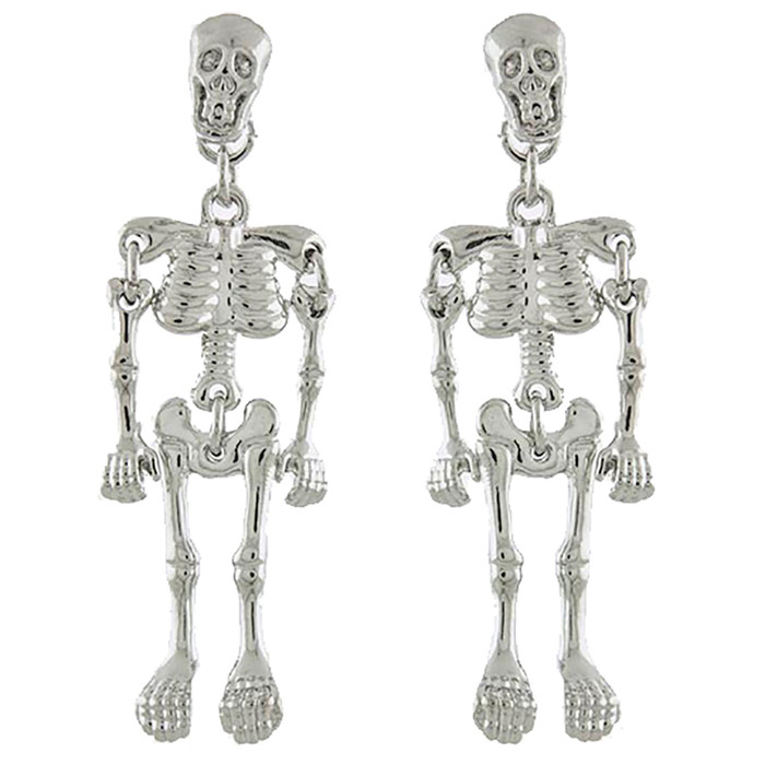 Halloween Costume Jewelry Enamel Dangling Skull Ornate Drop Earring E1140 SV