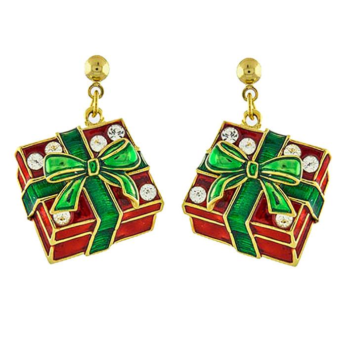 Christmas Jewelry Holiday Crystal Rhinestone Gift Box Earrings E1143 Red