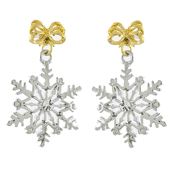 Christmas Jewelry Holiday Snowflake Bow Accent Dangle Drop Earrings E1144 Silver