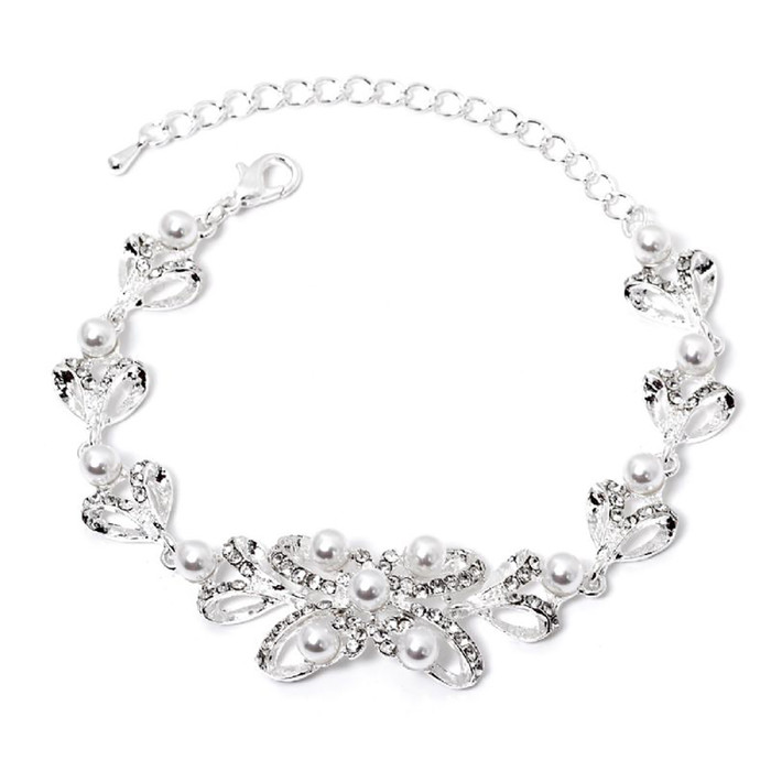 Bridal Wedding Jewelry Prom Fashion Crystal Classic Link Bracelet B531 Silver