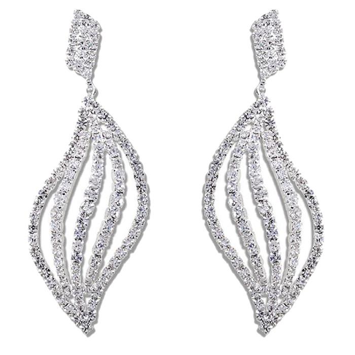 Bridal Wedding Jewelry Prom Crystal Rhinestone Striking Dangle Earrings E1151 SV