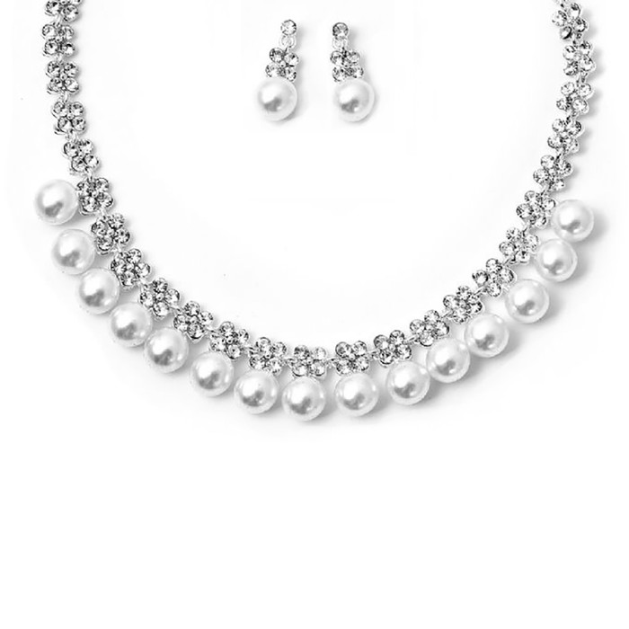 Bridal Wedding Prom Jewelry Set Crystal Rhinestone Pearl Classic Necklace J733