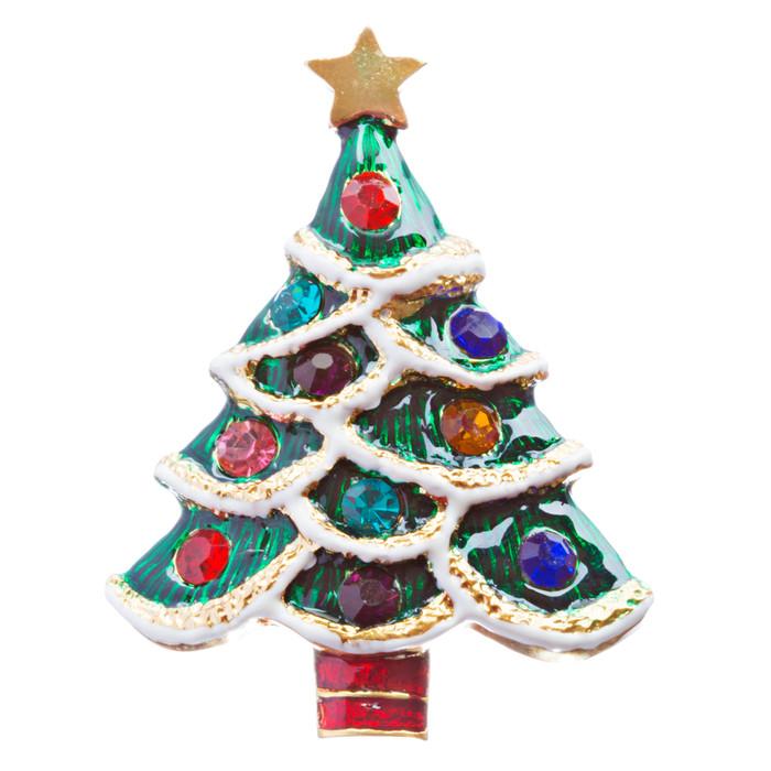 Christmas Jewelry Crystal Rhinestone Lovable Holiday Tree Brooch Pin BH140 Multi
