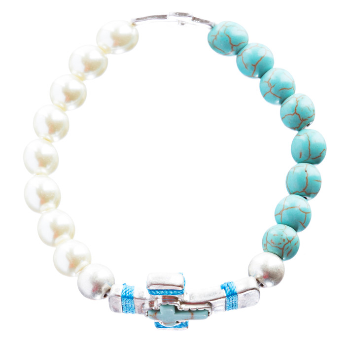 Cross Jewelry Charming Stone Cross Stretch Link Bracelet B493 Turquoise