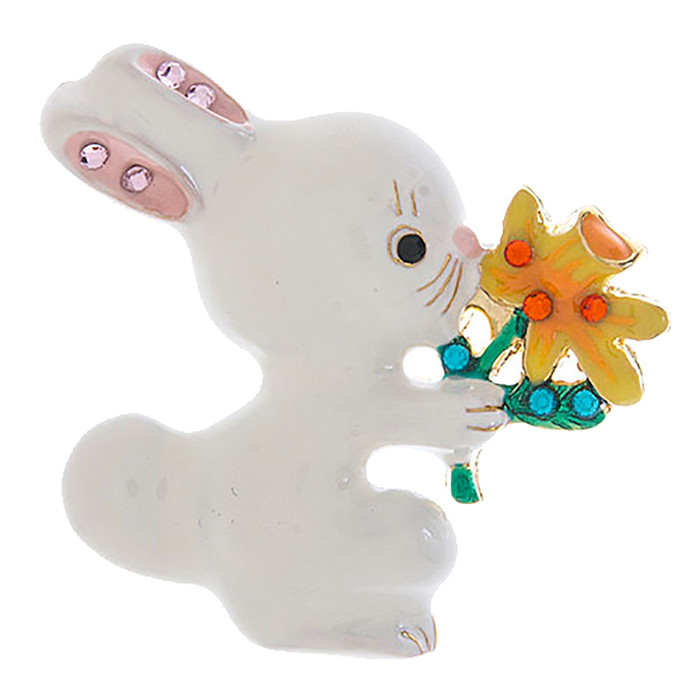 Spring Easter Jewelry Crystal Cute Bunny Flower Fashion Brooch Pin BH199 White