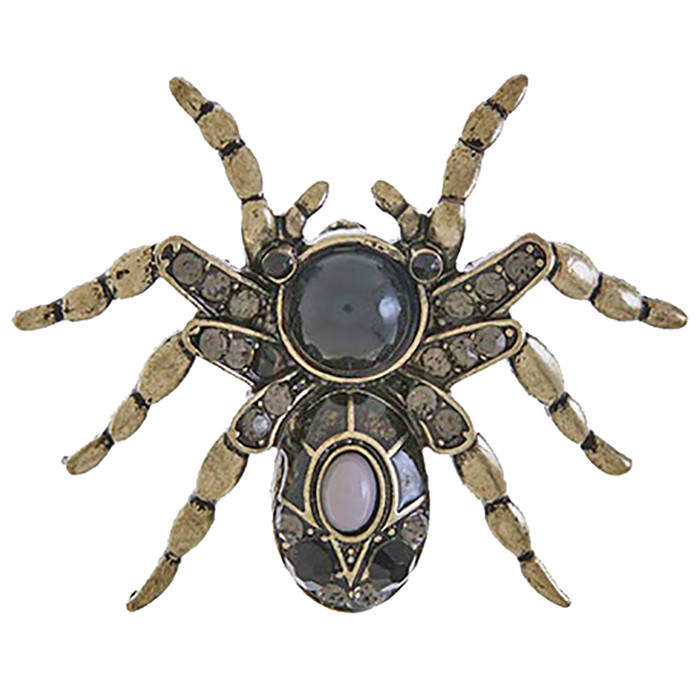Halloween Costume Jewelry Spider Charm Fashion Brooch Pin BH201 Antique Black