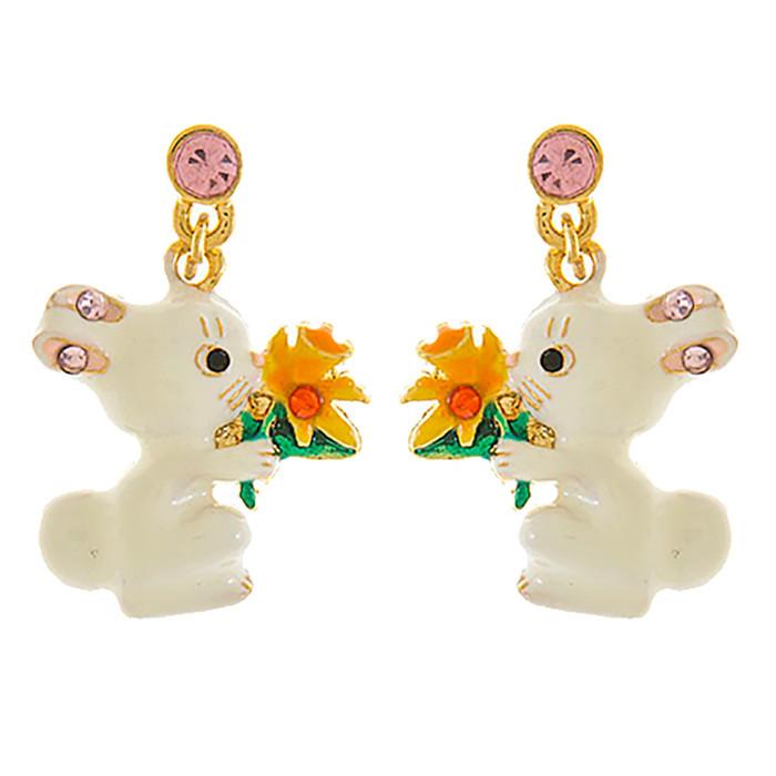 Spring Easter Jewelry Crystal Cute Bunny Flower Fashion Dangle Earrings E1152