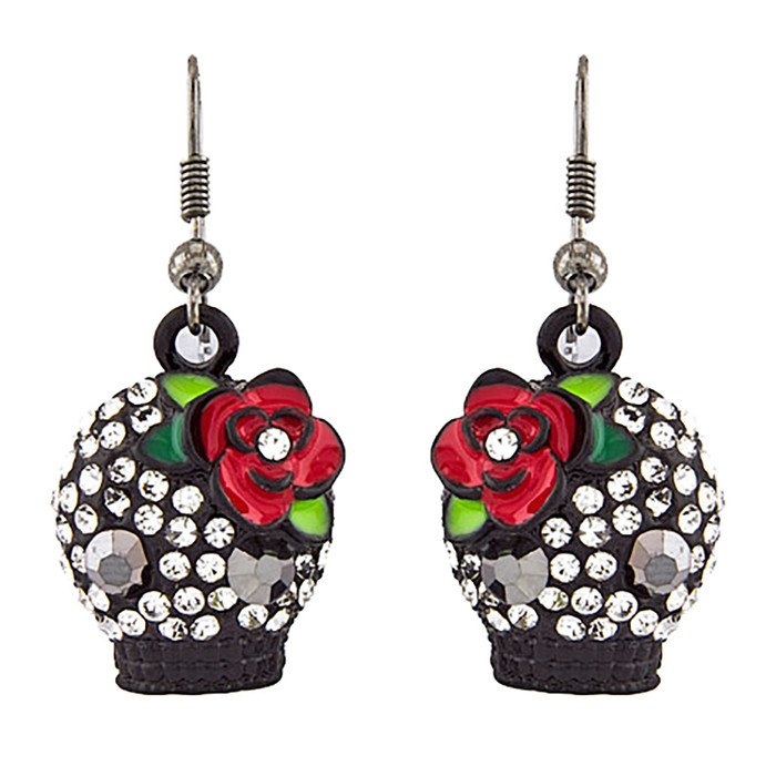 Halloween Costume Jewelry Crystal Rhinestone Rose Skull Earrings E1154 Black